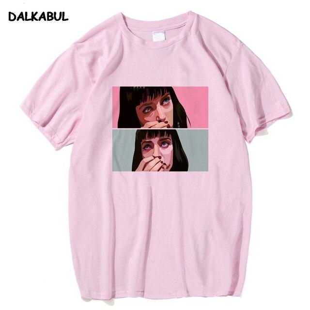 d02c2802e Movie Pulp Fiction T Shirt Men Uma Thurman Mia Wallace Quentin Tarantino  Tees Short Sleeve 100% Cotton Top Clothing 3XL
