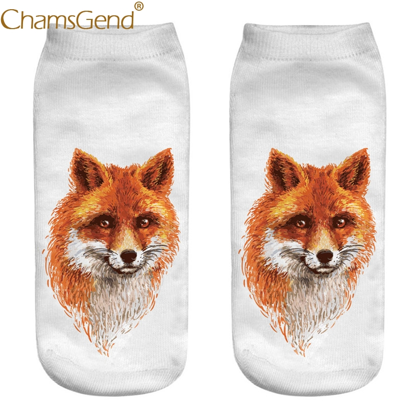 Chamsgend Drop Shipping Women Casual 3D Animal Paint Print Cotton Socks 80228