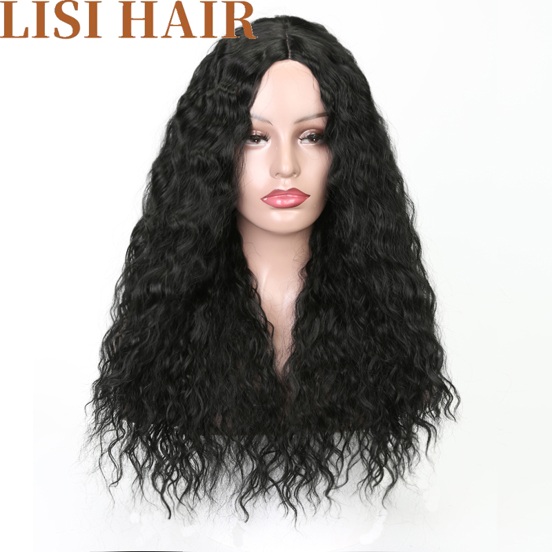 Lisi Hair Long Water Wave Wig Black Brown Blonde Wigs Heat Resistant Fiber Synthetic Wigs For Black Women Curly Hair Wig 24inch