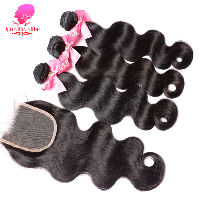 QUEEN BEAUTY Products 2 3 4 Pcs Brazilian Body Wave with Closure Natural Color Weave Remy