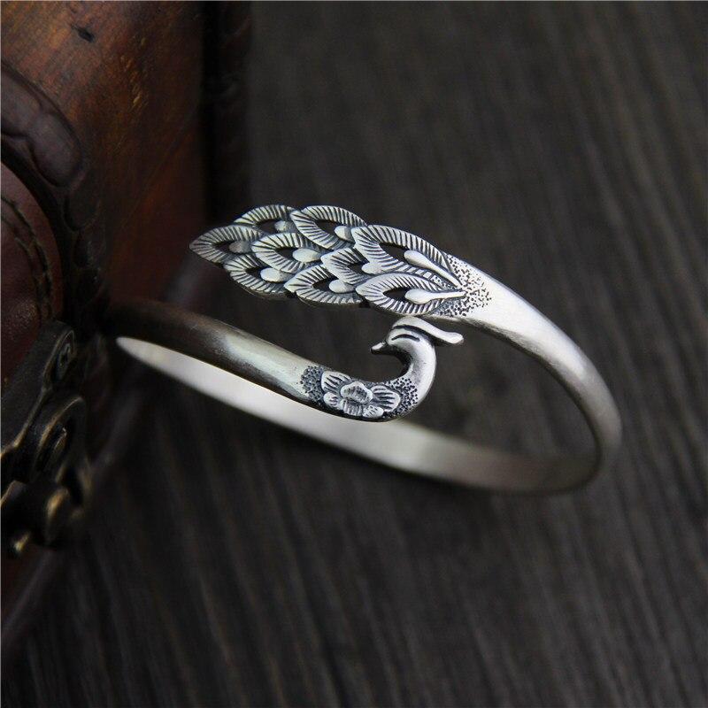 Pur argent éthique 925 Sterling Thai argent Bracelets et Bracelets Vintage taille ouverte bracelet S925 paon plume bijoux