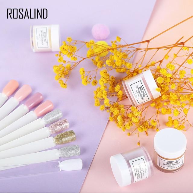 ROSALIND inmersión en polvo brillo de uñas pigmento gradiente francés uñas Natural 10g Color holográfico decoración de uñas polvo de inmersión