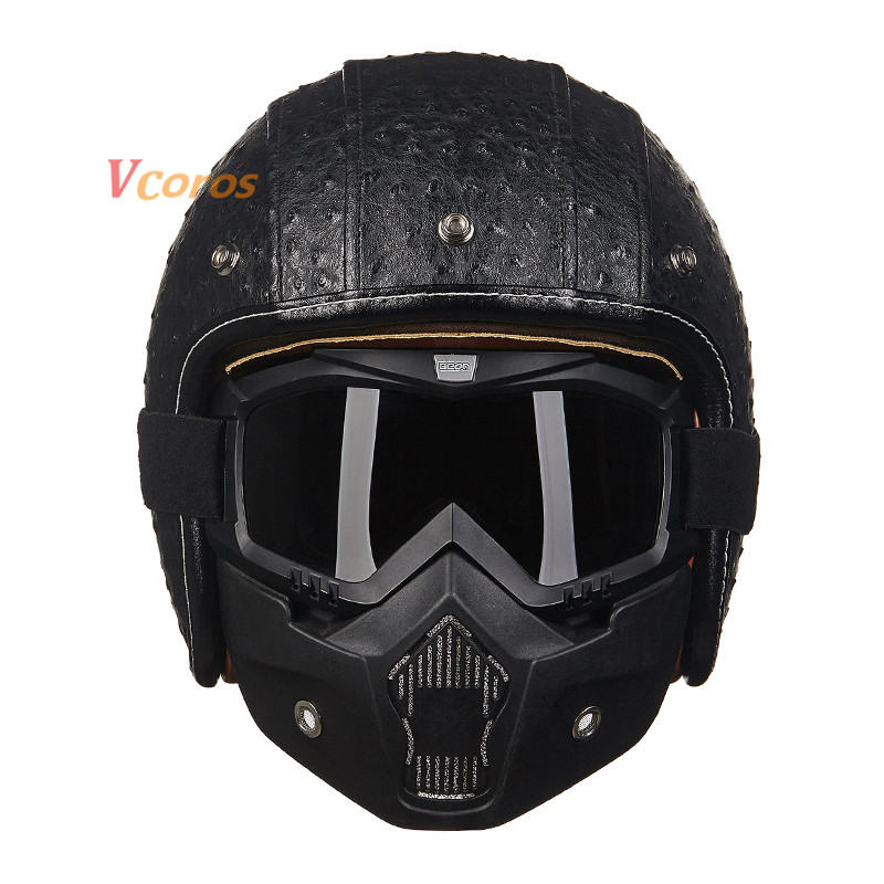 2016 GXT Vintage Motorcycle Helmets Vespa Open Face Retro Leather Scooter Helmet Professional Halley Moto Helmet Casco Casque