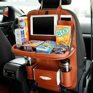 Image 2 - PU Leather Car Seat Back Bag Folding Table Organizer Pad Drink Chair Storage Box Travel Stowing Tidying Automobile Accessories