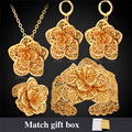 Flower Wedding Jewelry Set Pendants Necklaces Earrings Bracelets Rings With Gift Box For Women Gold Plated Jewelry Sets S101