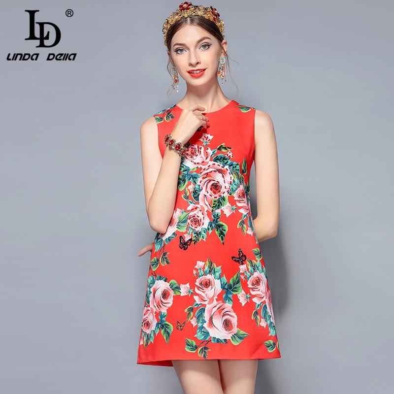 Ld Robe Linda Perles Floral Della Manche Rouge 2018 Rose Mode Sans Luxe Courte Nouveau Élégant Imprimé Femmes De D'été Piste 0SCCqnrRd