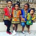Comercio al por mayor 2016 Niños Nuevo Diseño de Moda de la Ropa Tradicional Africana Imprimir Dashiki T-shirt Para Niños y Niñas