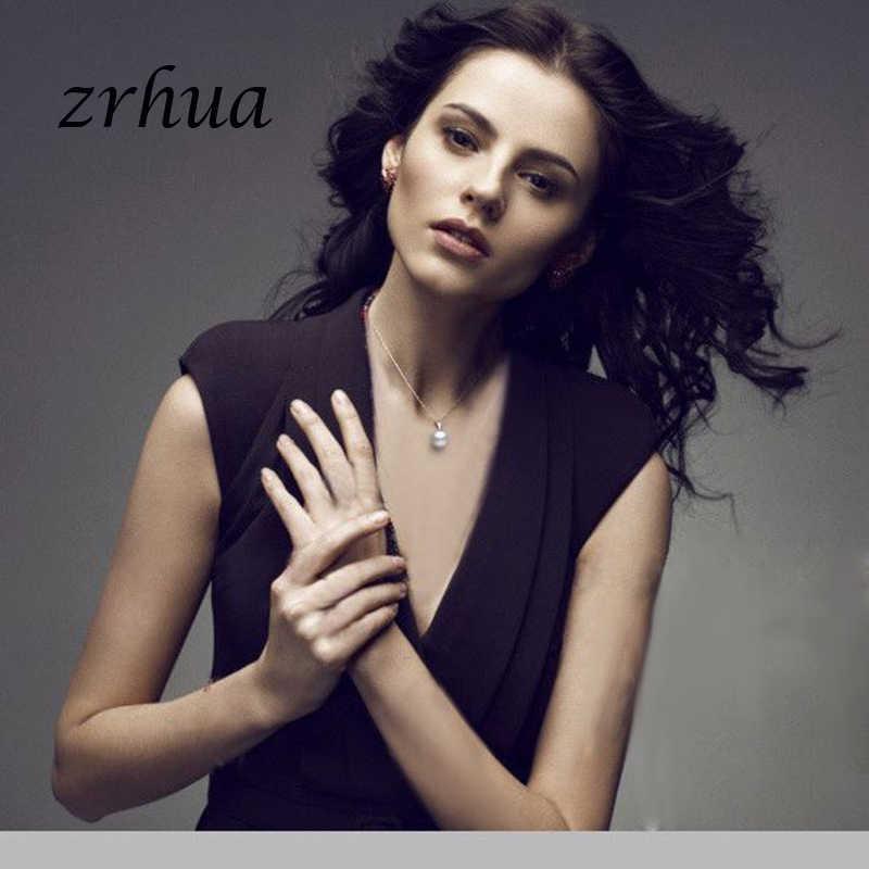 ZRHUA ไฮกลอรี่สูงเงิน 925 สร้อยคอและจี้รอบ Pearl จี้แต่งงานเจ้าสาวเครื่องประดับสำหรับคนรัก