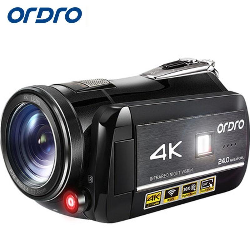 Ordro ac1 4 К HD WI FI 24mp цифровой Камера инфракрасный видео Регистраторы Ночное видение 30 xdigital Zoom PC для Live паром