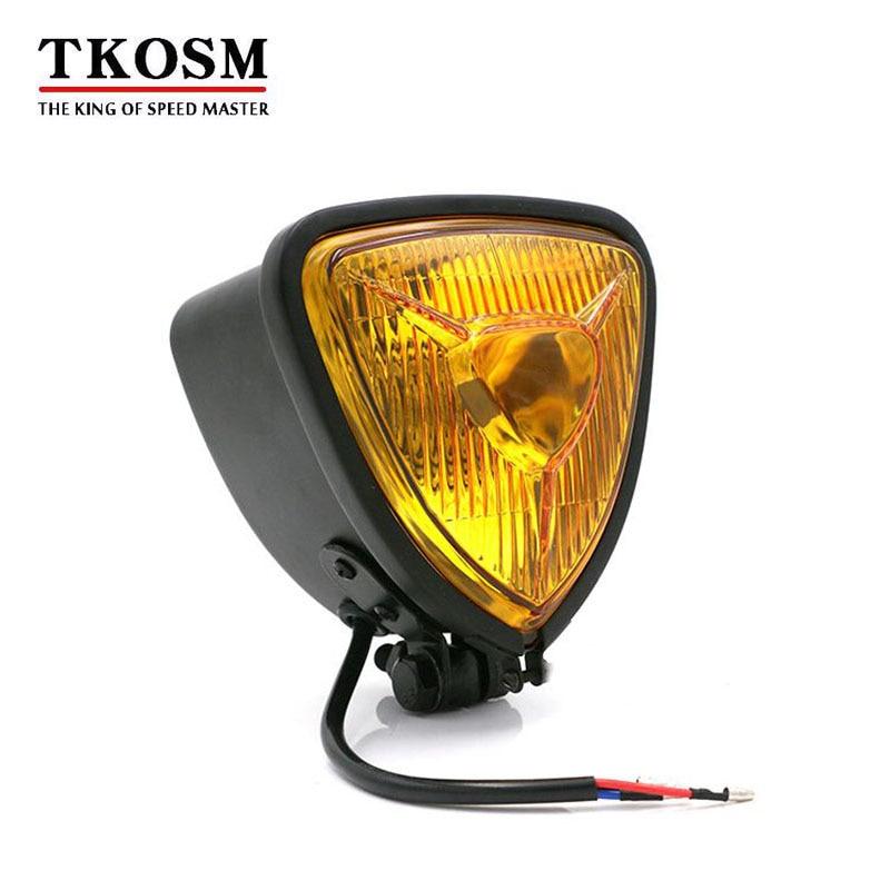 TKOSM 10mm Universal Motorcycle Headlights H4 12V 60/50W Hi/Lo Beam Lamp Cafe Racer for Harley Davidson Dyna Honda Cafe Racer