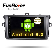 Funrover 2 din Android8.0 car multimedia dvd gps navigation for Toyota corolla 2007 2008 2009 2010 2011 car dvd radio gps stereo