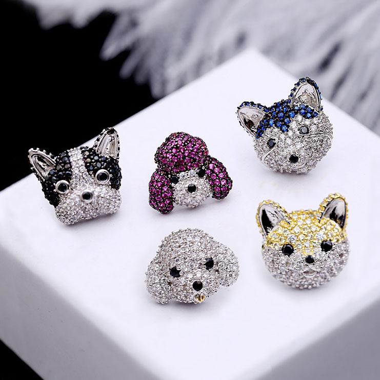 Fashion High Quality Sweet Cute Cubic Zirconia Stud Earrings Poodle Bulldog Husky Dog Women Jewelry Lover Birthday Gift