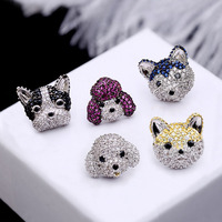 Fashion High Quality Sweet Cute Cubic Zirconia Stud Earrings Poodle Bulldog Husky Dog Women Jewelry Lover