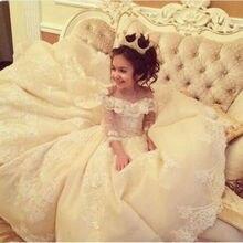 Princesa Pageant Vestidos Para Meninas Glitz 2016 Vestidos Da Menina de Flor vestido de Baile Primeira Comunhão Vestidos Para Meninas Feitas Sob Encomenda(China (Mainland))