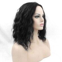 Soloowigs кучеряве жіноче середнє частина Cosplay немає шнурка парики високої температури волокна синтетичні волосся чорні середні дівчата Cos Hairpieces