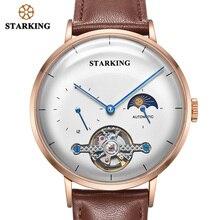 STARKING Reloj de acero negro para hombre, cronógrafo de negocios, mecánico, automático, de pulsera, Masculino
