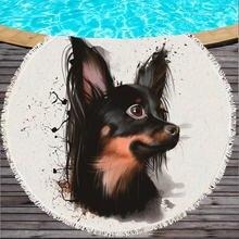 Круглое пляжное полотенце Bulldog для детей, с принтом, с рисунком, с принтом, с рисунком, большое полотенце мультяшная микрофибра, для ванной, Toalla, 150 см