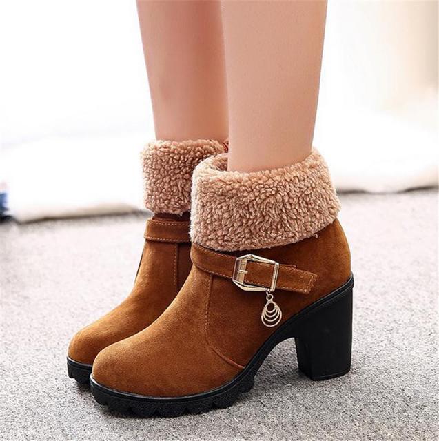 2016 dólares no inverno cabeça alta com espessura com o comércio exterior fivela de cinto flanging dois usar botas curtas botas de grandes estaleiros