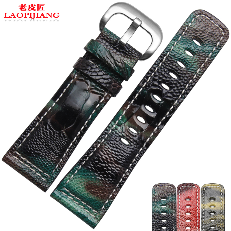 Laopijiang Leather watch band ostrich foot Bracelet fit H-a-m-i-l-t-o-n watch strap 2022 24mm