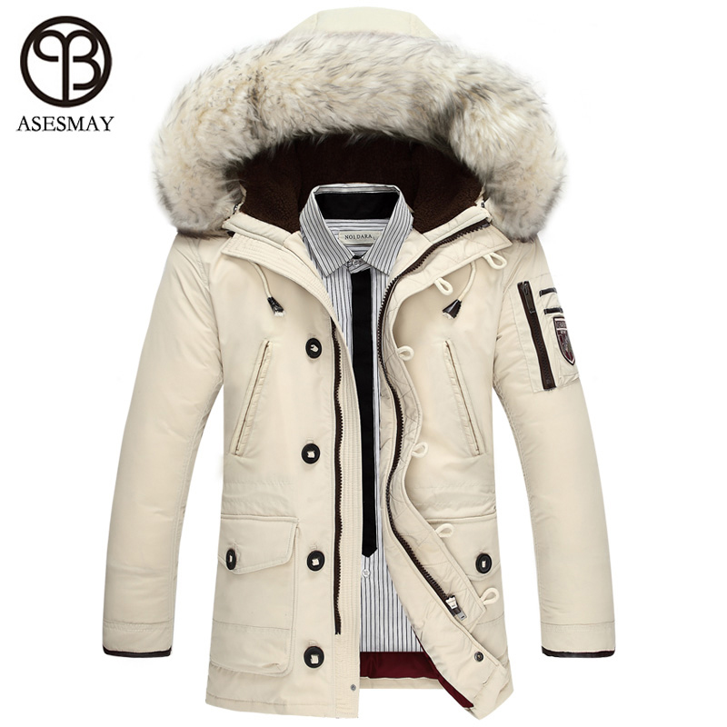 Asesmay Winter Mens Duck Down Jackets Coats Mens Fashion Thick Warm Big Wool Fur Hooded Plus Size Jackets For Men Winter Parkas