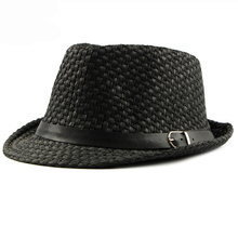 HT1751 2018 New Men Straw Hat Male Summer Jazz Hats with Belt Breathable Cowboy Fedoras Casual Sun Cap