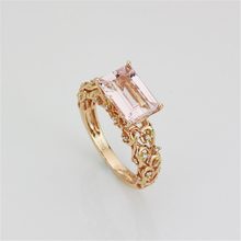 Antique Prong Set 1CT Natural Morganite Gemstone Ring Emerald Cut Morganite 925 Sterling Silver Plate Rose Gold Wedding Ring