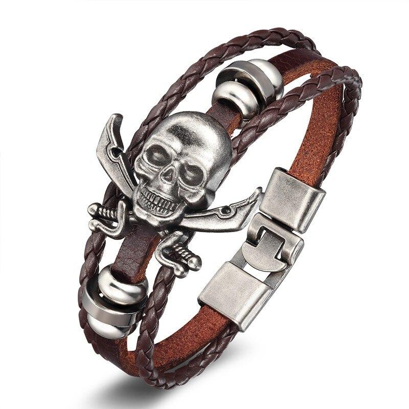 18 New Fashion 3 layer Leather Skull Bracelets&Bangles Handmade Round Rope Turn Buckle Bracelet For Women Men Charm bracelet 9