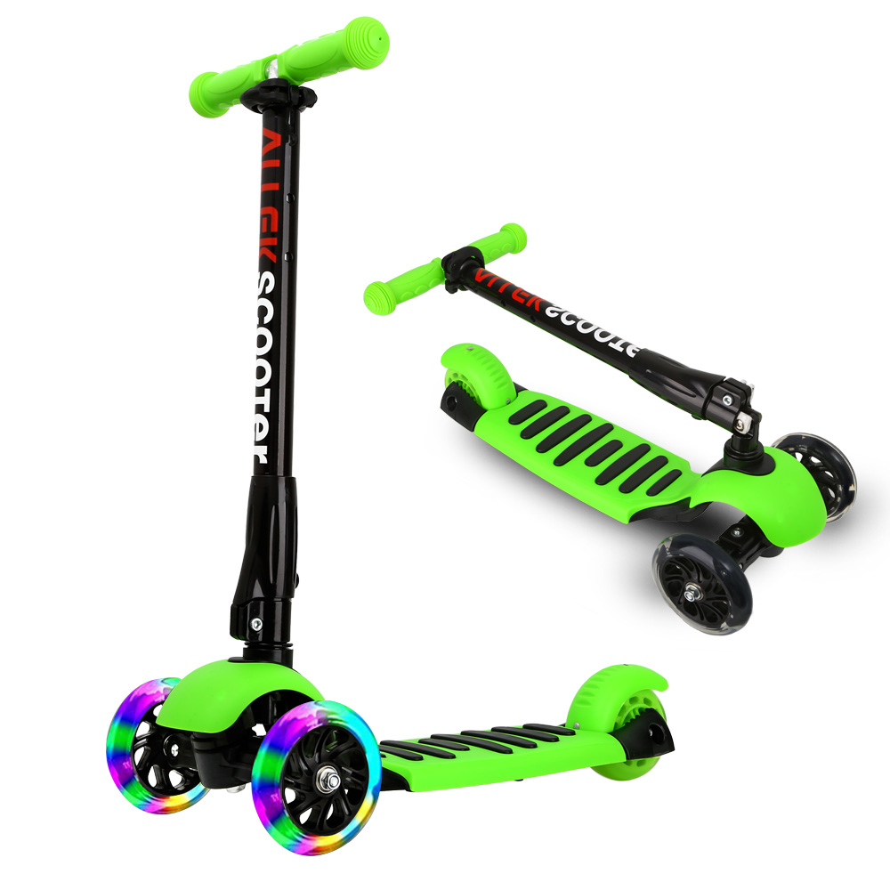 US Ship Green Scooters Allek Foot Kick Scooter Folding 3 Wheels with LED Light Up T-bars for Kids Free Shipping folding kick scooters foot scooters children best birthday gift with flash pu wheels free shipping