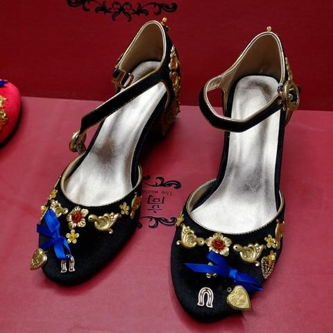 Mid-heeled sandals retro cupid ladies sandals metal phoenix beaded velvet round head national wind sandals banquet catwalk shoes Lahore
