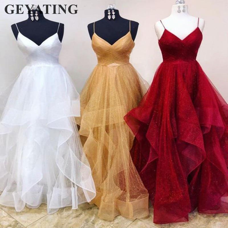 Tulle brillant or robes de bal 2019 longues bretelles Spaghetti ruché à volants bordeaux soirée formelle robe blanche de mariée robes de soirée
