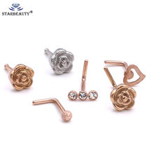 1Pc Rose Gold hotsale bodyjewelry 0.8x7mm nose ring hoop Body Jewelry Rhinestone Small Heart nosering Body Piercing(China)