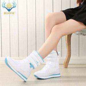 Image 4 - Kışlık botlar kadın sıcak kar botu ayakkabı % 30% doğal yün ayakkabı beyaz renk BUFFIE 2020 büyük boy fermuar orta buzağı ücretsiz kargo