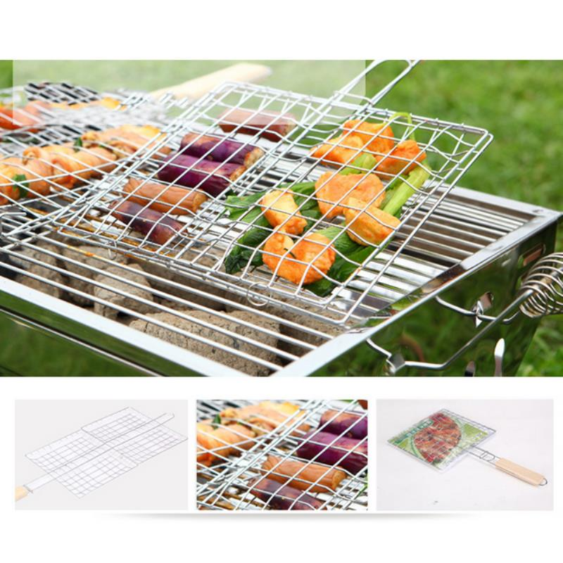 Durable Picnic Barbecue Grill Net Mayitr Rectangle Shape BBQ Grilling Tools