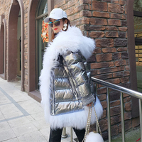 Высокое качество зимние шерстяные пальто с мехом женские пуховик теплая дутая куртка большой меховой воротник с капюшоном топы женские Бол