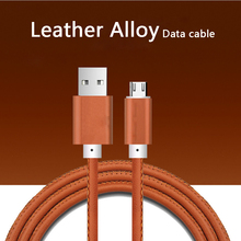 1 M Leather  alloy Micro USB Cable for Andriod device iPh 7 6s Fast Charge & Sync Data cable Huawei 2.0A
