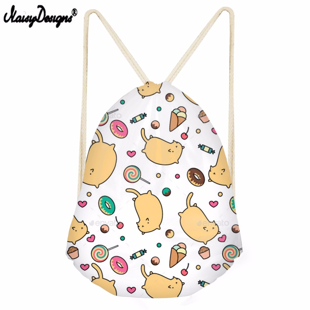NOISYDESIGNS Beach Bags Girl Cartoon Cat Pattern Printed Drawstring Backpack Colorful School Shopper for Women Mochila
