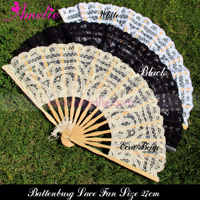 100pcslot Free Shipping Battenburg Lace Fan Wedding Bride Craft Hand Lace Fan
