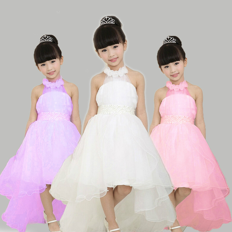 Girls Wedding Dress European Style Hanging Neck Girl Dress Children Clothing Fishtail Girl Party Dress Flower Girls Dress
