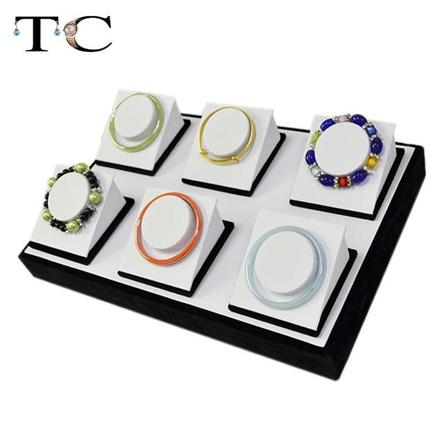 Jewelry Display Bracelet Tray Pallet 6 pcs/set Bangle Pallet Bracelet Display Holder Stand Jewelry Organizer Showcase