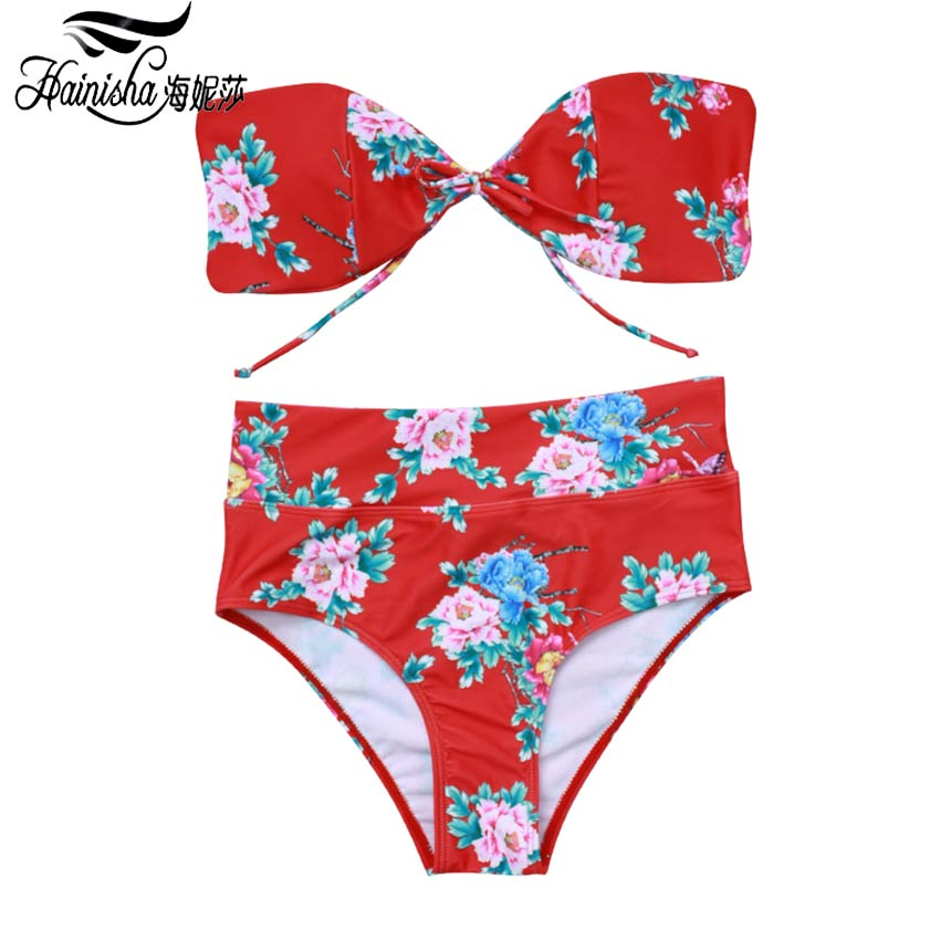 Bandeau Biquini 2018 Sexy Push Up Bikini Women Swimsuit High Waist Print Floral Solid Maillot Bating Wear Swimming For Women