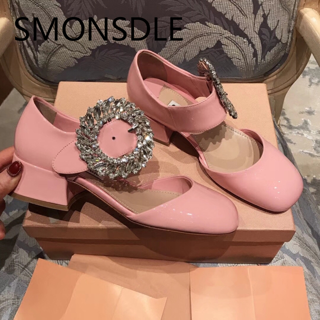 New Spring Genuine Leather Women Pumps Black Pink Blingbling Crystal Beading Buckle Women Shoes Sweet Mary Janes Shoes Woman