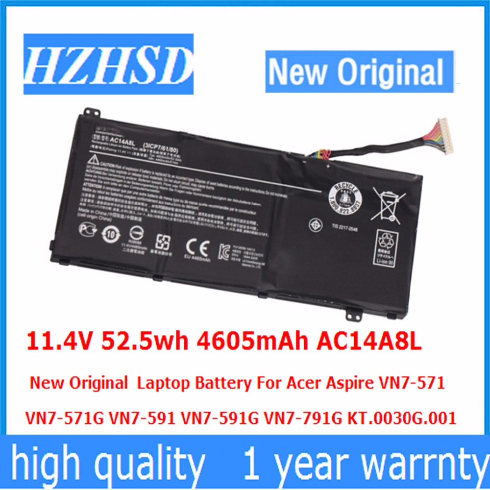 11.4V 52.5wh 4605mAh AC14A8L New Original Laptop Battery For Acer Aspire VN7-571 VN7-571G VN7-591 VN7-591G VN7-791G slim 19v 7 1a 135w laptop ac power adapter charger for acer aspire v15 nitro vn7 592 vn7 592g v5 591 v5 591g vx5 591g pa 1131 16