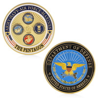 Gold Plated Army Navy Air Force Marines Commemorative Coin Collection
