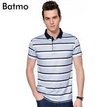 Batmo 2017 new arrival summer Bamboo Fiber Breathable striped gray casual polo shirt men,size M.L.XL.XXL.XXXL 3 color