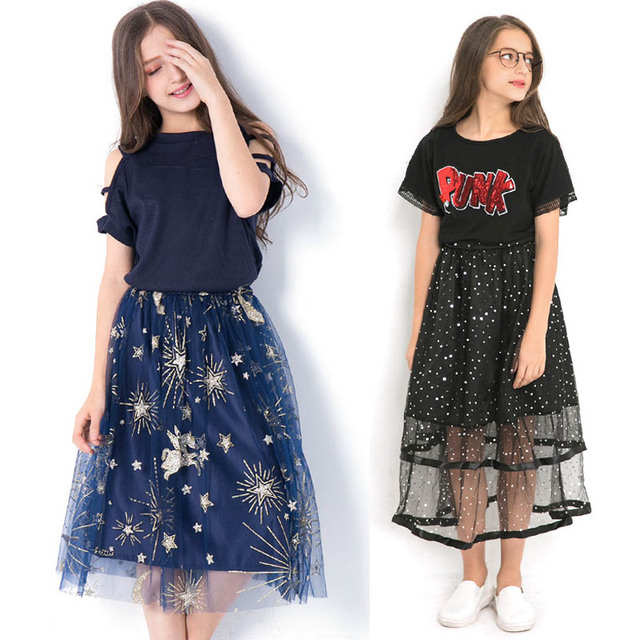Kids Clothing Set Teen Girls Clothes Children Costume Summer Embroidery T shirt Mesh Sequin Skirt Suit for Girls Outfits 12 Year