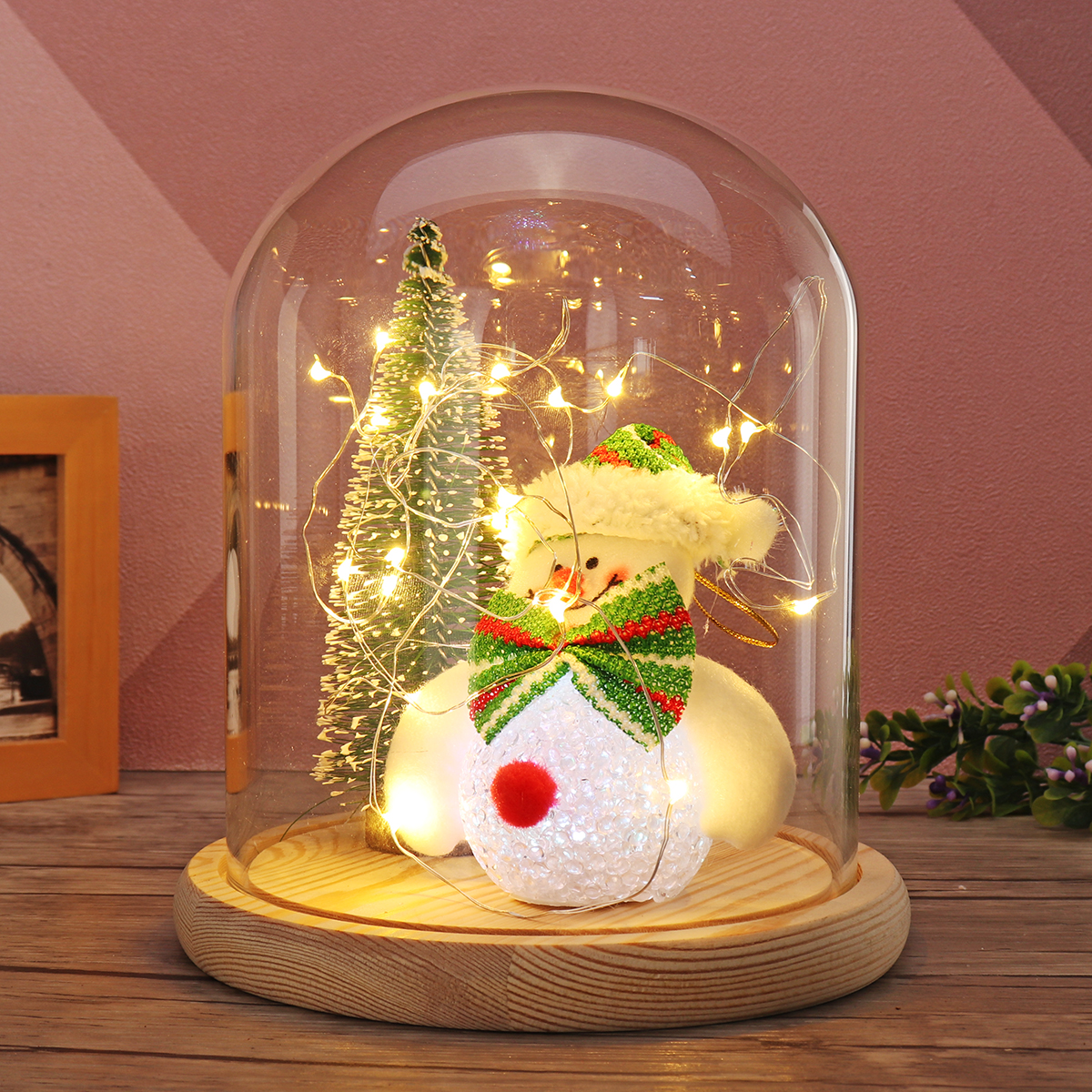Set Snowman Christmas Tree Glass Dome LED Night Light Bell Jar Display Fairy LED String Light Christmas Party Holiday Home Decor christmas snowman toy kids gift star shape candy jar
