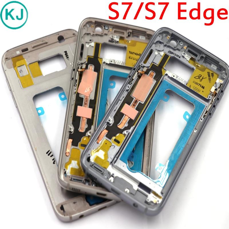 10 stücke Neue S7 Rand/S7 Mittleren Rahmen Für Samsung Galaxy G930F G935F Metall Mittlere Platte Gehäuse Lünette Chassis mit Kleinen Teile