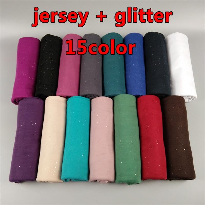 Nice plain glitter muslim jersey hijab scarf shawl solid muslim hijab women warm winter wrap sjaal