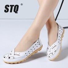 Mocassins en cuir véritable pour femmes, chaussures de ballerine à talons plats, STQ 2020, été sans lacet