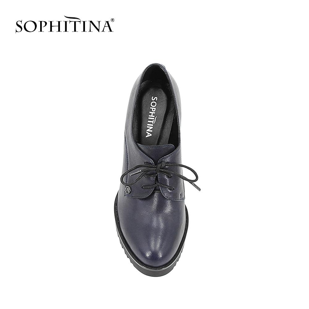 SOPHITINA en cuir véritable dame plate-forme pompes en peau de mouton bleu foncé à lacets haut talon carré femmes chaussures bout rond à la main D59 - 4